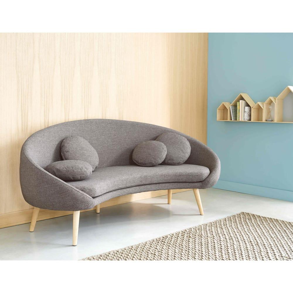 canap 3 places en tissu gris clair chin willy maisons du monde. Black Bedroom Furniture Sets. Home Design Ideas