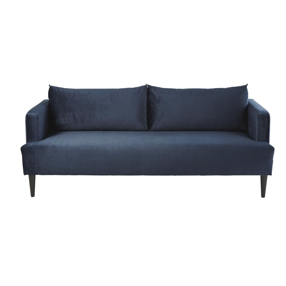 canap 3 places en velours bleu nuit giulia maisons du monde. Black Bedroom Furniture Sets. Home Design Ideas