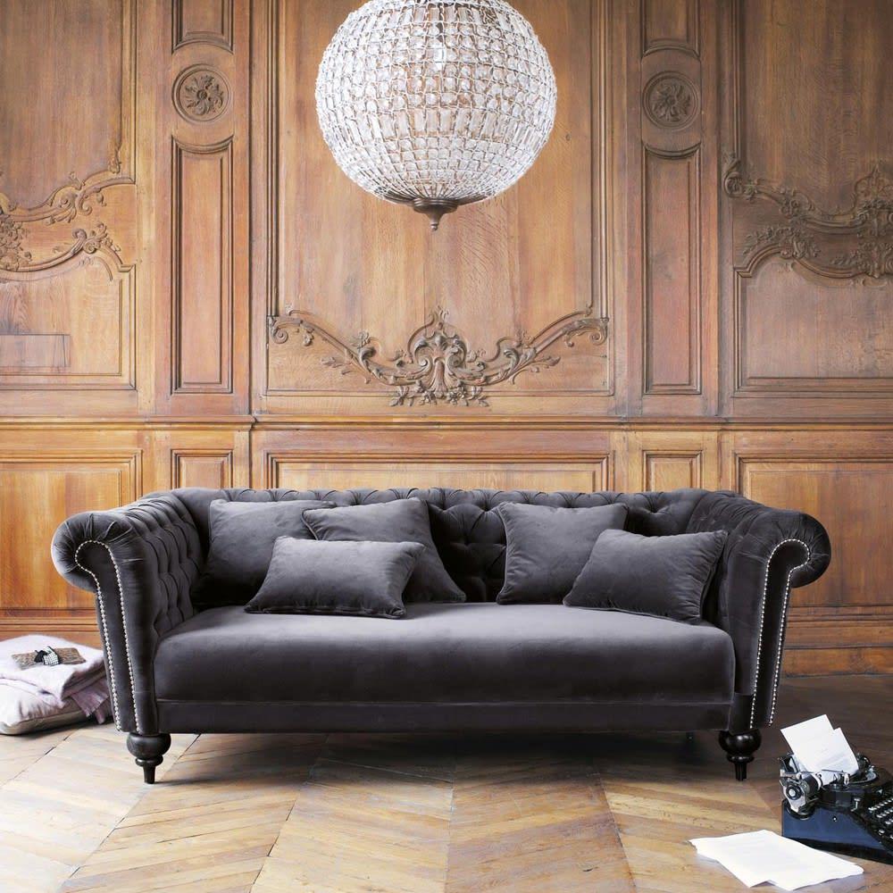 canap 3 places en velours gris carmen maisons du monde. Black Bedroom Furniture Sets. Home Design Ideas