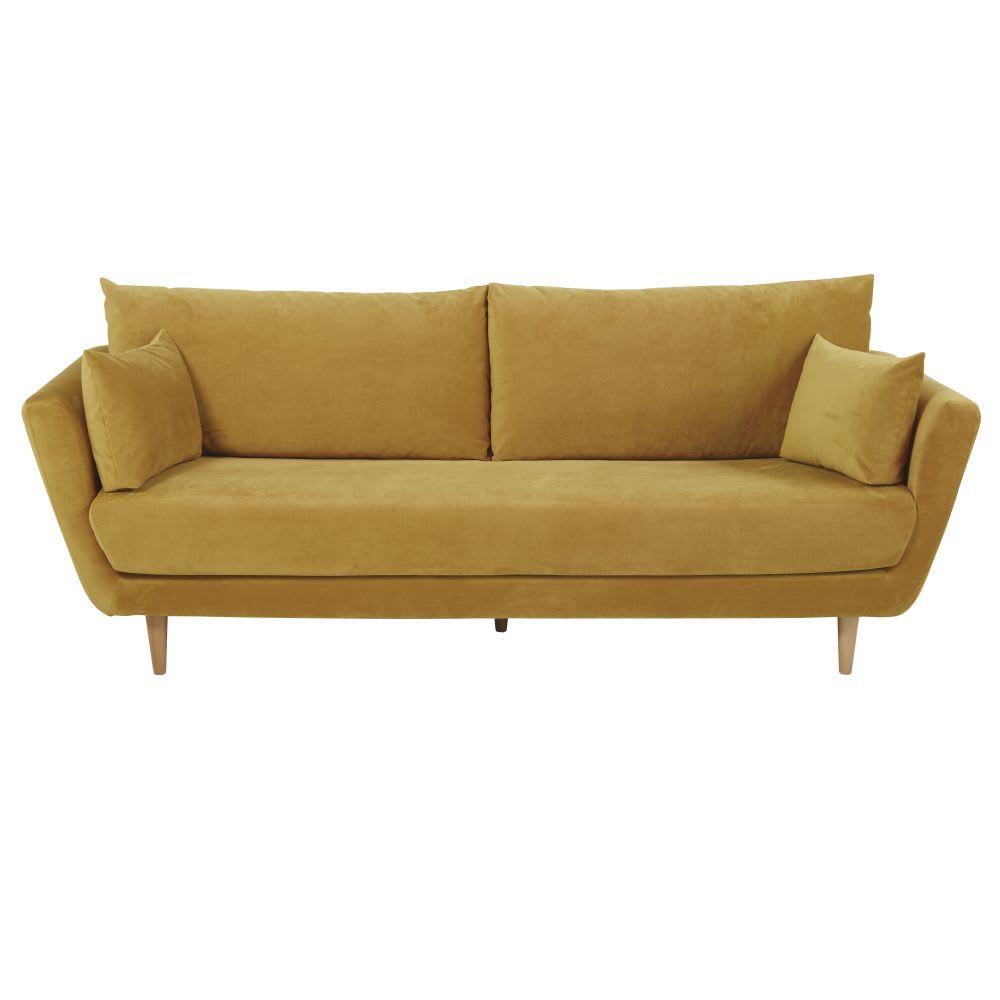 canapé 3 places en velours jaune moutarde prague  maisons