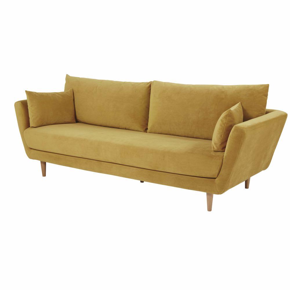 canap 3 places en velours jaune moutarde prague maisons. Black Bedroom Furniture Sets. Home Design Ideas