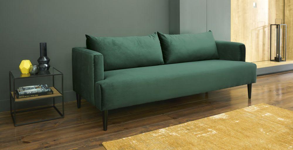 Canapé places en velours vert giulia maisons du monde
