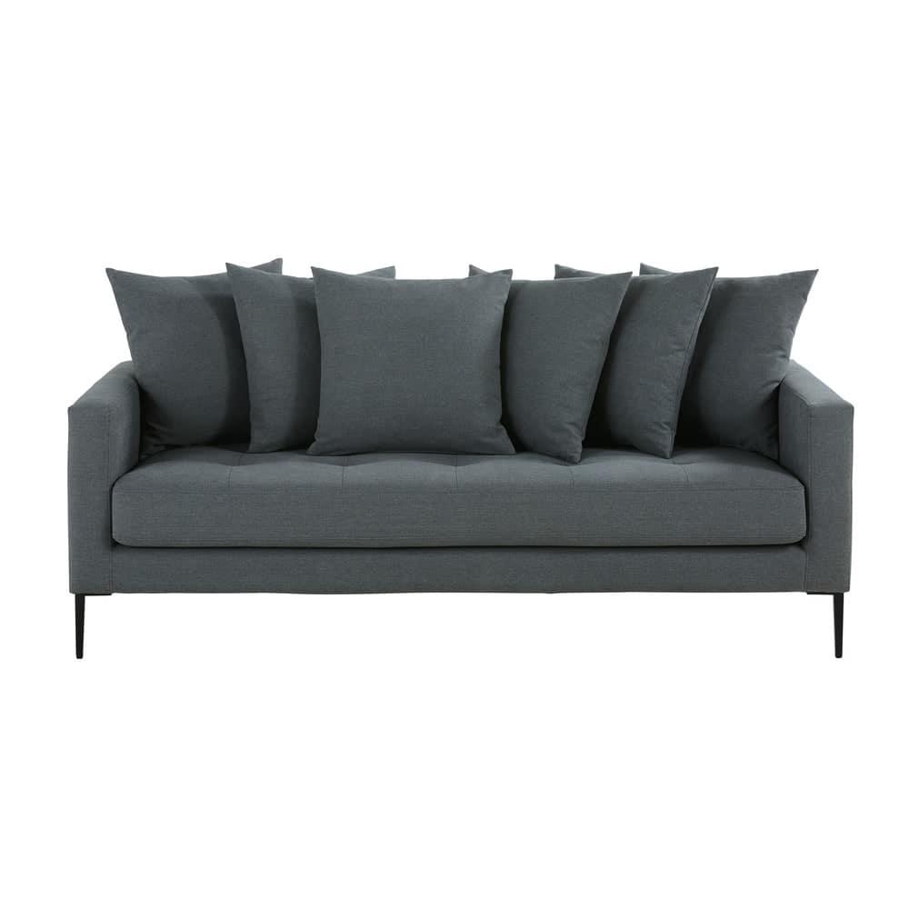 canap 3 places gris anthracite anton maisons du monde. Black Bedroom Furniture Sets. Home Design Ideas
