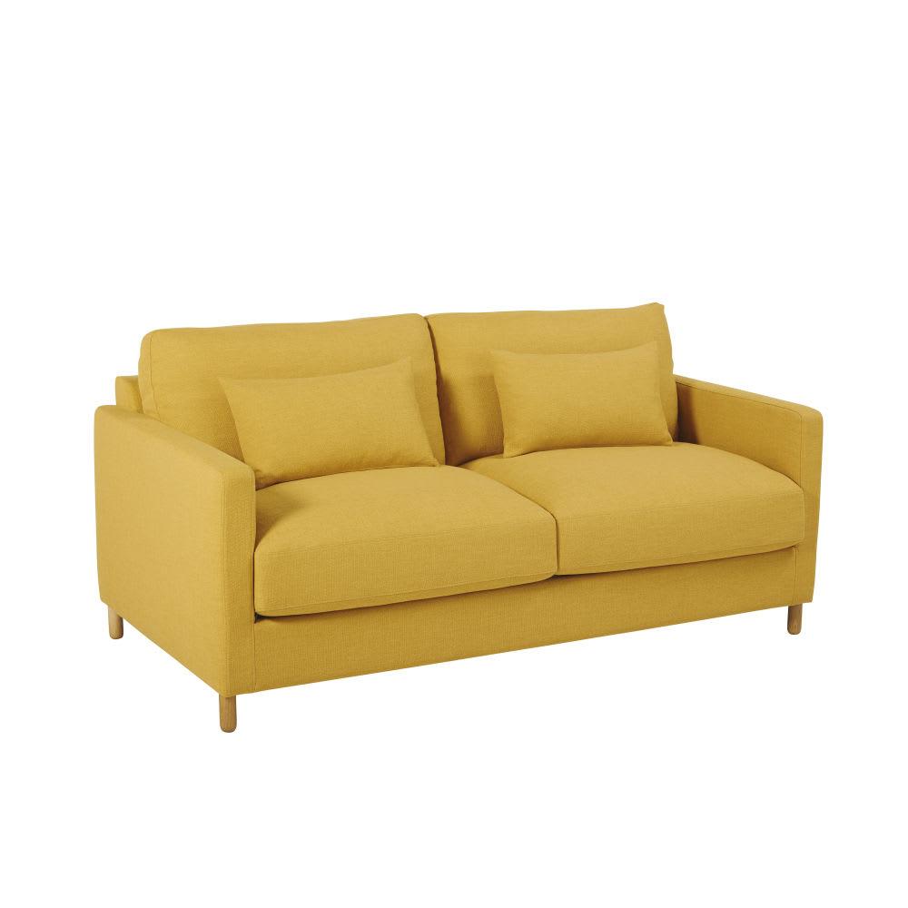 canap 3 places jaune moutarde julian maisons du monde. Black Bedroom Furniture Sets. Home Design Ideas