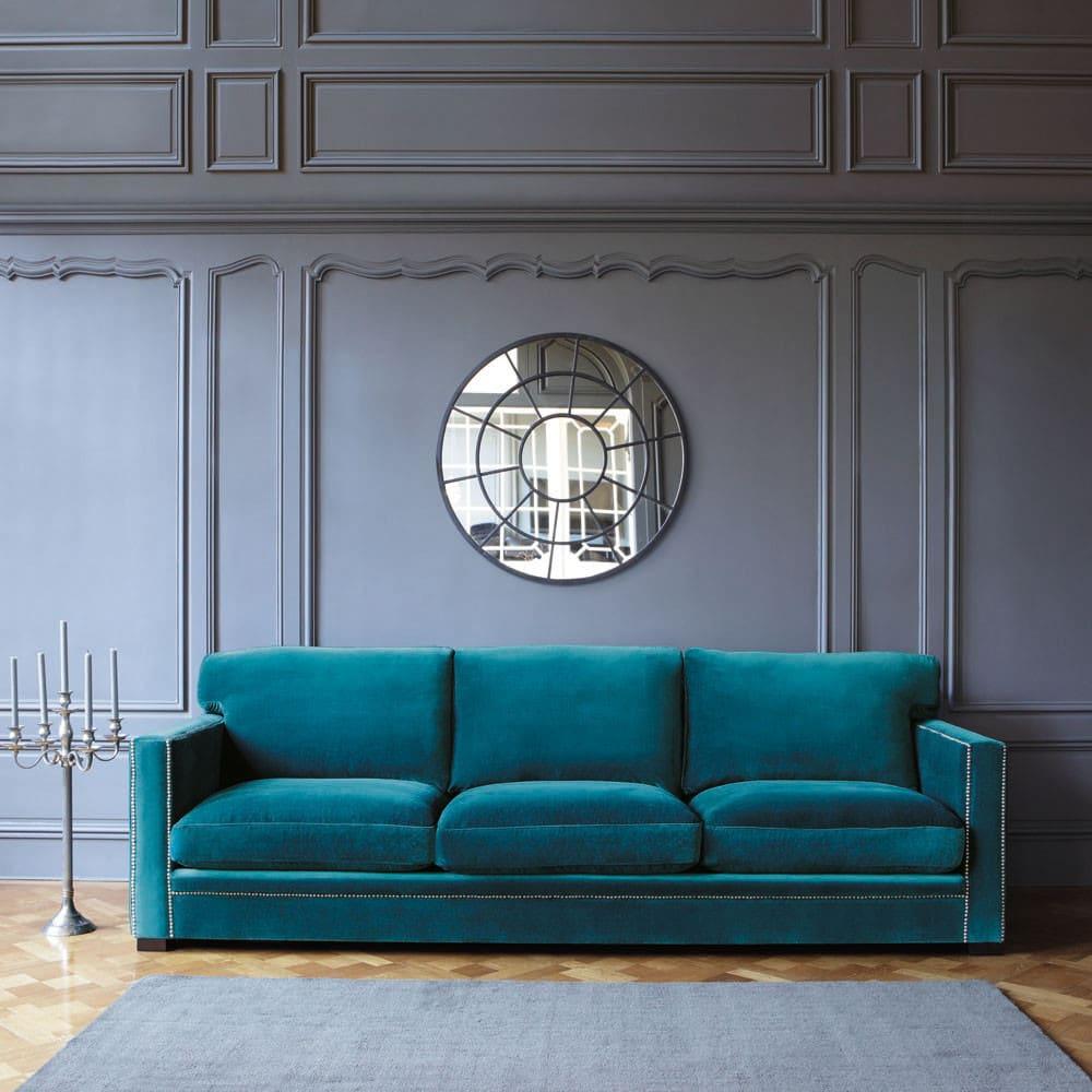 canap 4 5 places en velours bleu dandy maisons du monde. Black Bedroom Furniture Sets. Home Design Ideas