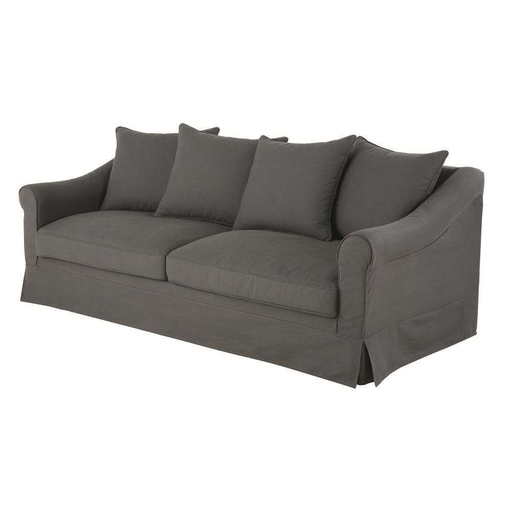 canap 4 places en coton gris anthracite joanne maisons. Black Bedroom Furniture Sets. Home Design Ideas