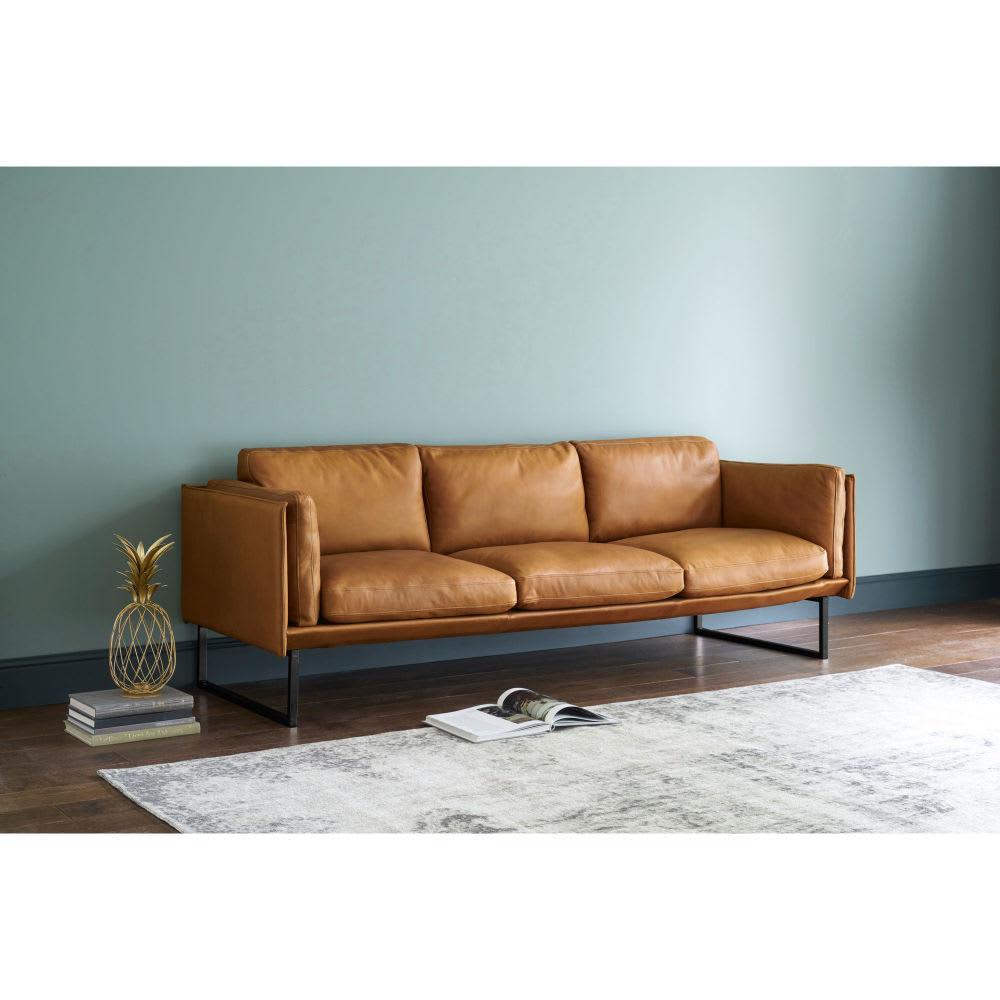 canap 4 places en cuir cognac wolfgang maisons du monde. Black Bedroom Furniture Sets. Home Design Ideas