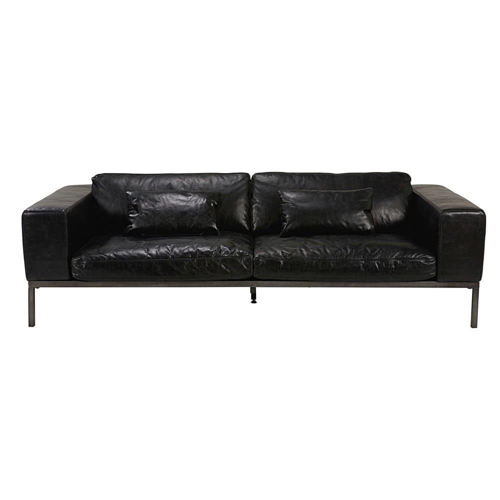 wellington - canapé 4 places en cuir de vachette noir vieilli