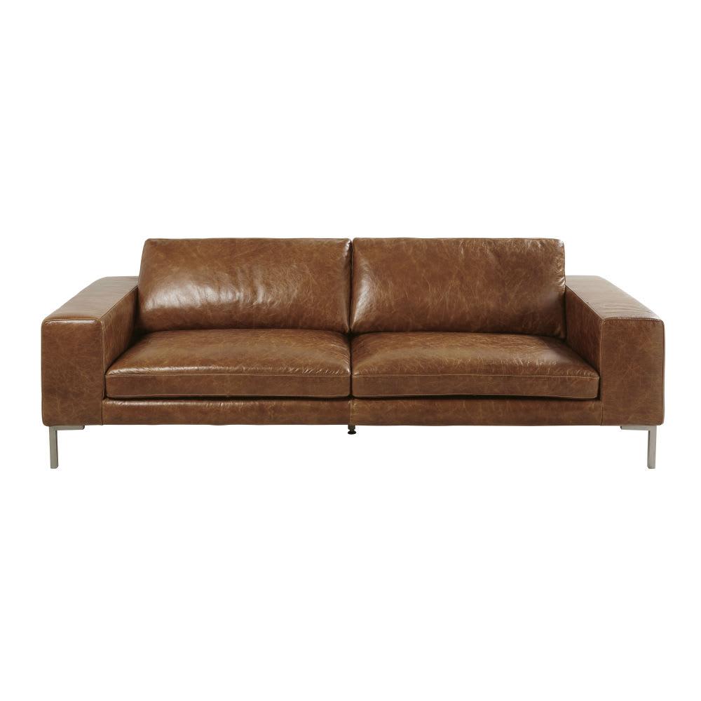 canap 4 places en cuir marron gunther maisons du monde. Black Bedroom Furniture Sets. Home Design Ideas