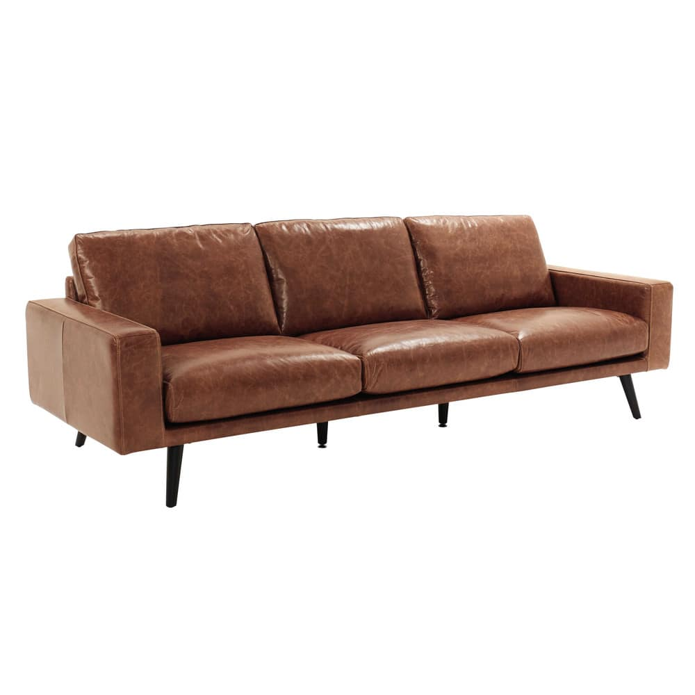 canap 4 places en cuir marron cognac clark maisons du monde. Black Bedroom Furniture Sets. Home Design Ideas