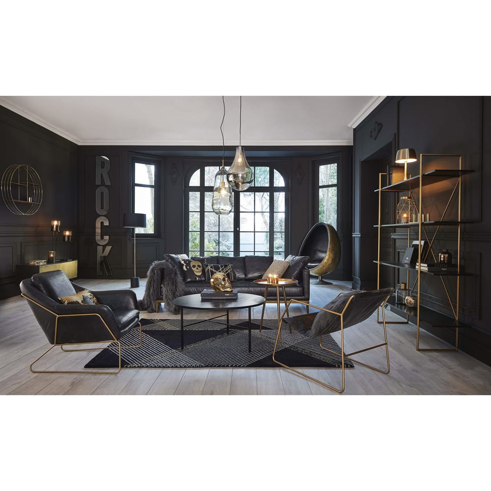 Canap 4 places en cuir noir foals maisons du monde - Maison du design ...