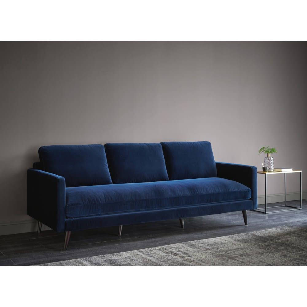 canap 4 places en velours bleu nuit kant maisons du monde. Black Bedroom Furniture Sets. Home Design Ideas