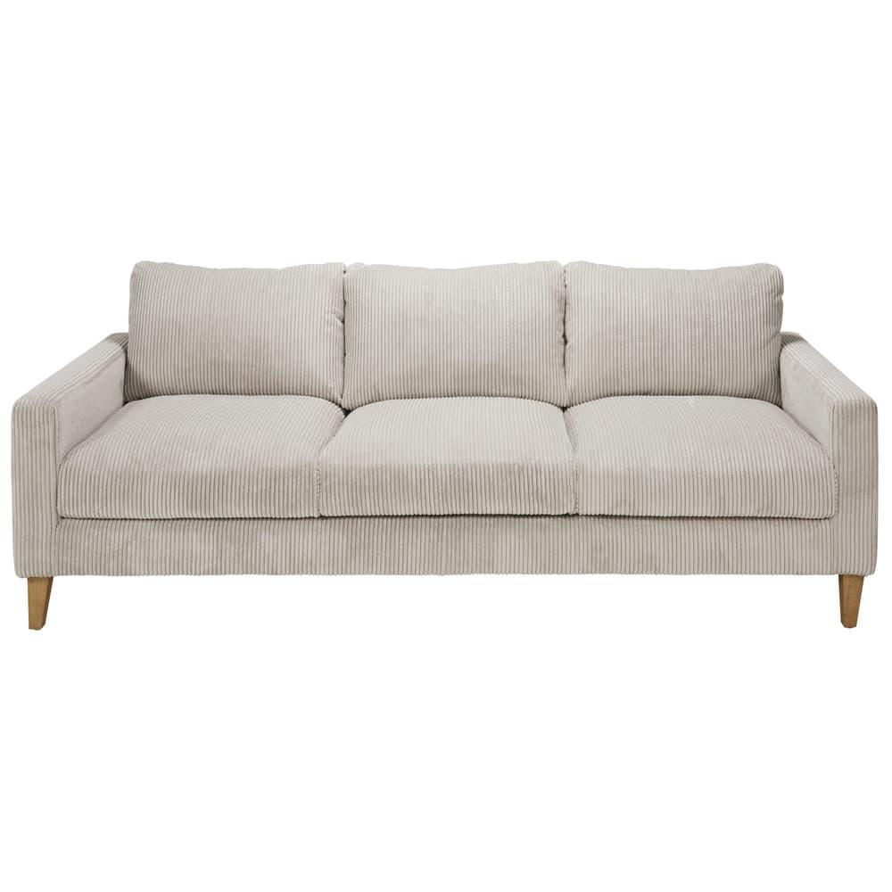 canap 4 places en velours c tel gris clair holden. Black Bedroom Furniture Sets. Home Design Ideas