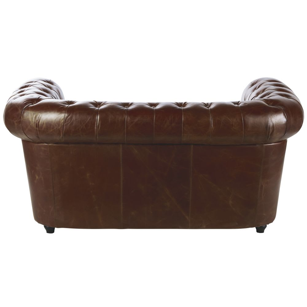 canap capitonn 2 places en cuir marron chesterfield. Black Bedroom Furniture Sets. Home Design Ideas