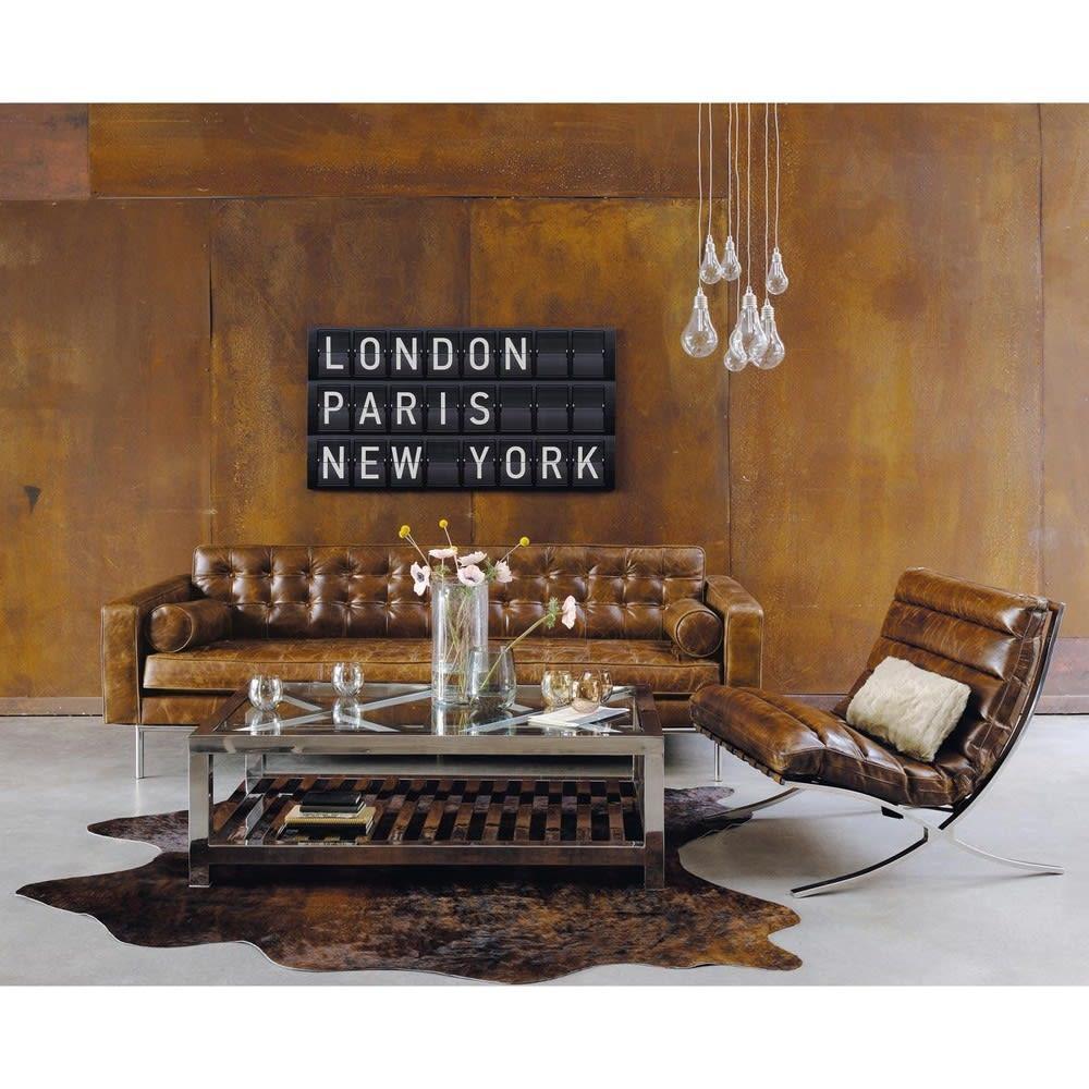 canap capitonn 3 places en cuir marron mikado maisons. Black Bedroom Furniture Sets. Home Design Ideas