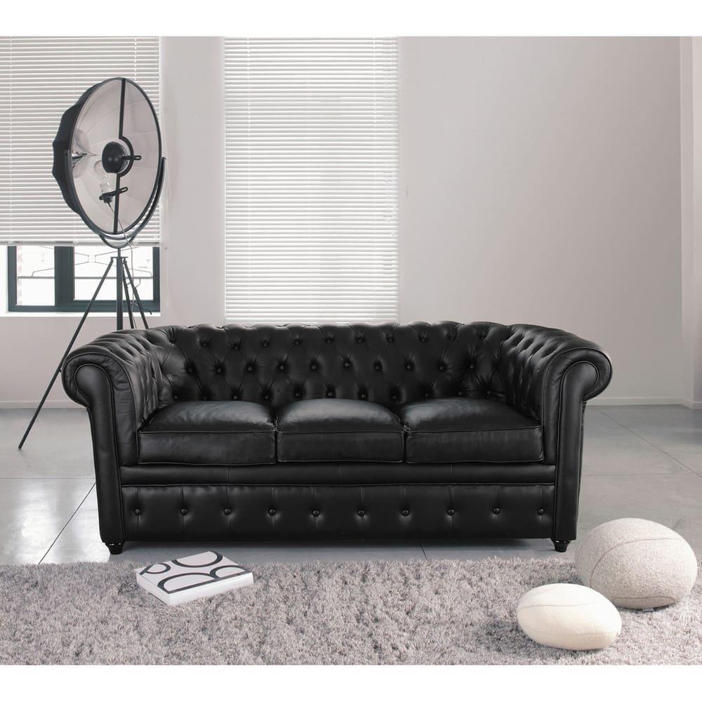 Canapé capitonné 3 places en cuir noir Chesterfield   Maisons du Monde ae69636b62c9
