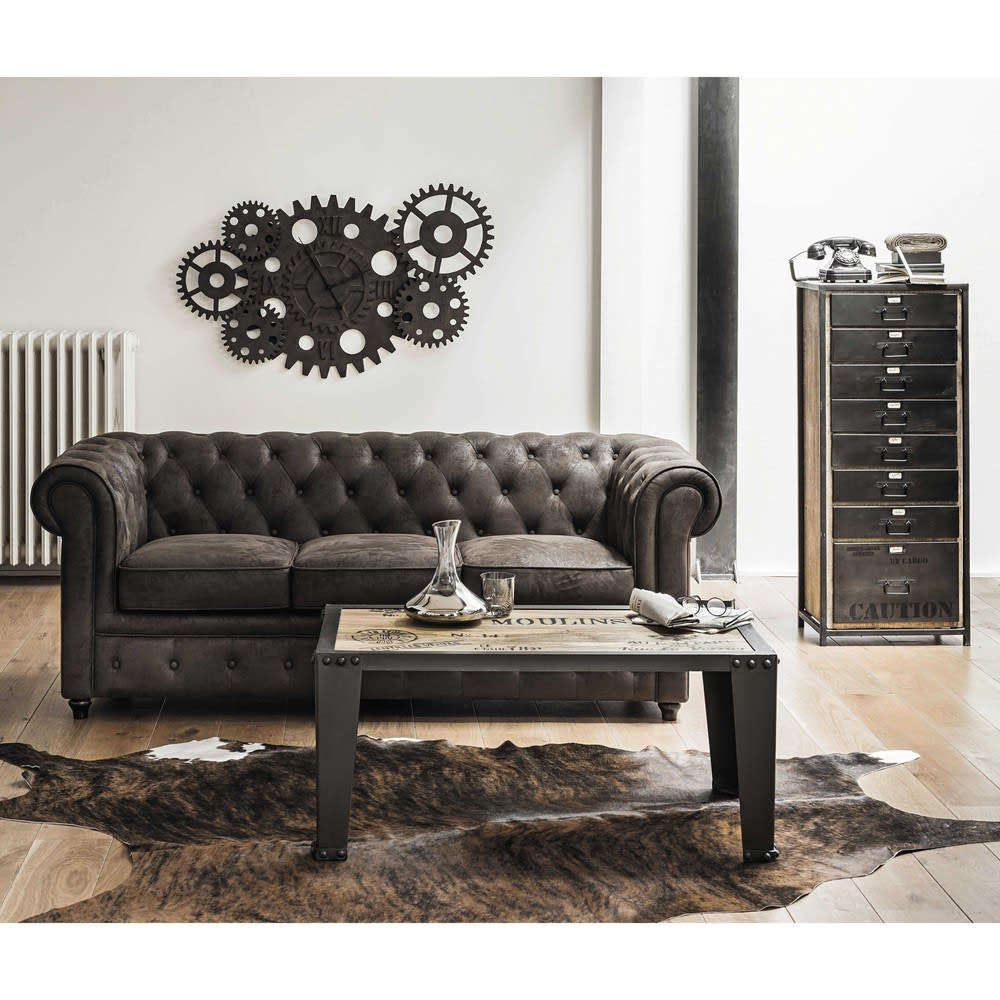 Canap capitonn 3 places en su dine marron chesterfield for Maison du monde arredo bagno