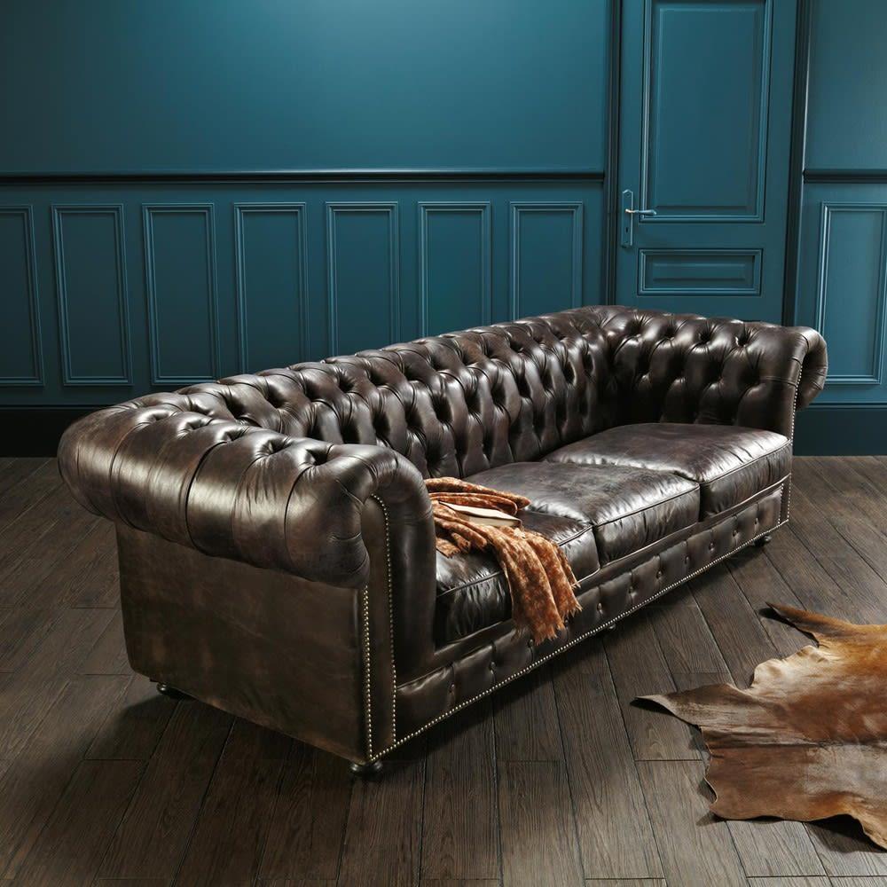 canap capitonn 4 places en cuir marron moka chesterfield. Black Bedroom Furniture Sets. Home Design Ideas