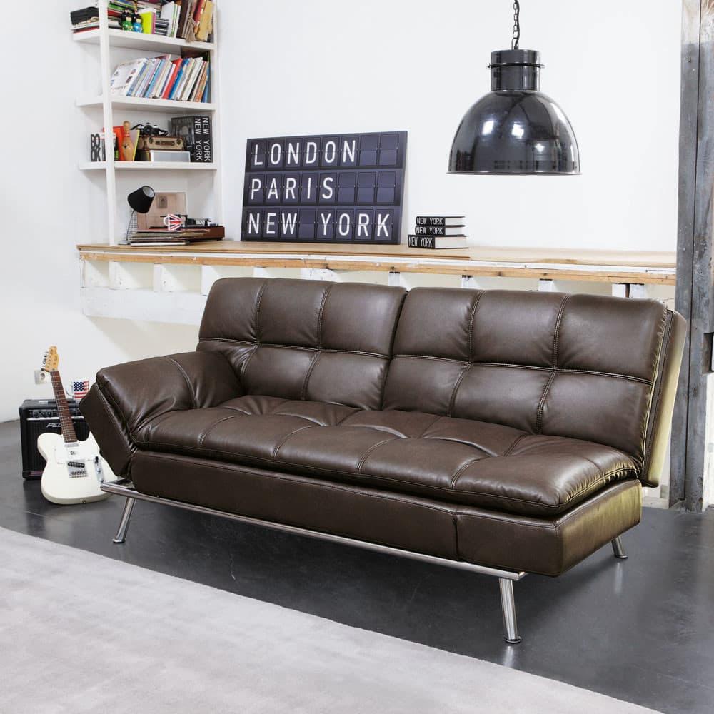 canap clic clac 3 places capitonn marron denver maisons du monde. Black Bedroom Furniture Sets. Home Design Ideas
