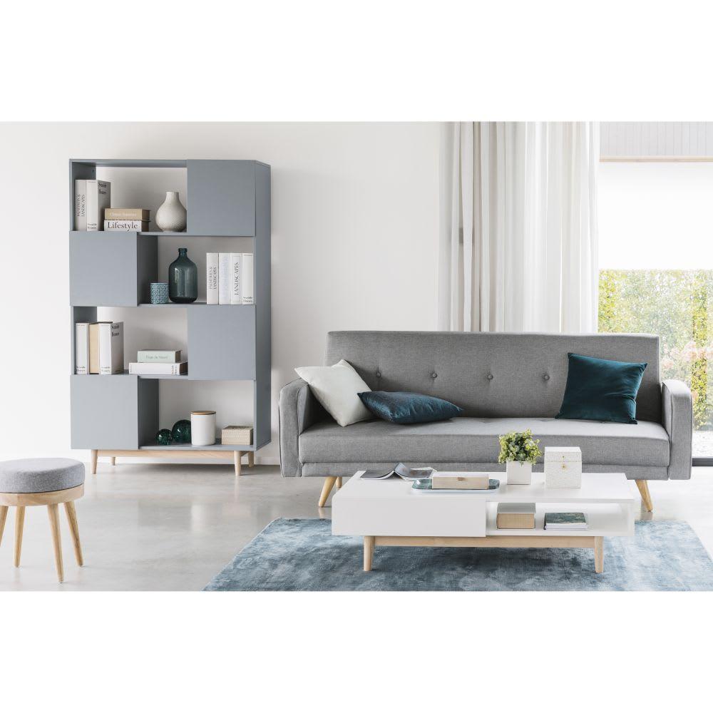 canap clic clac 3 places gris clair chin broadway maisons du monde. Black Bedroom Furniture Sets. Home Design Ideas