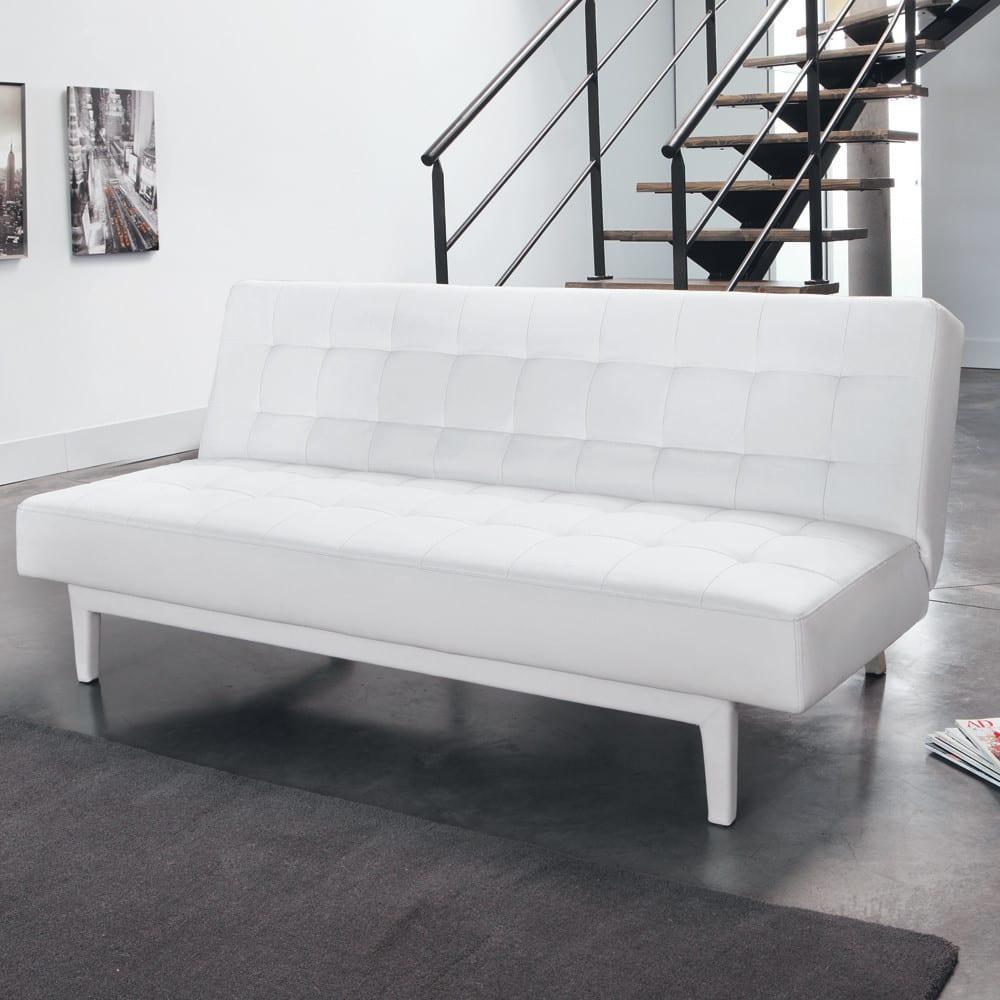 canap clic clac capitonn 3 places blanc studio maisons du monde. Black Bedroom Furniture Sets. Home Design Ideas