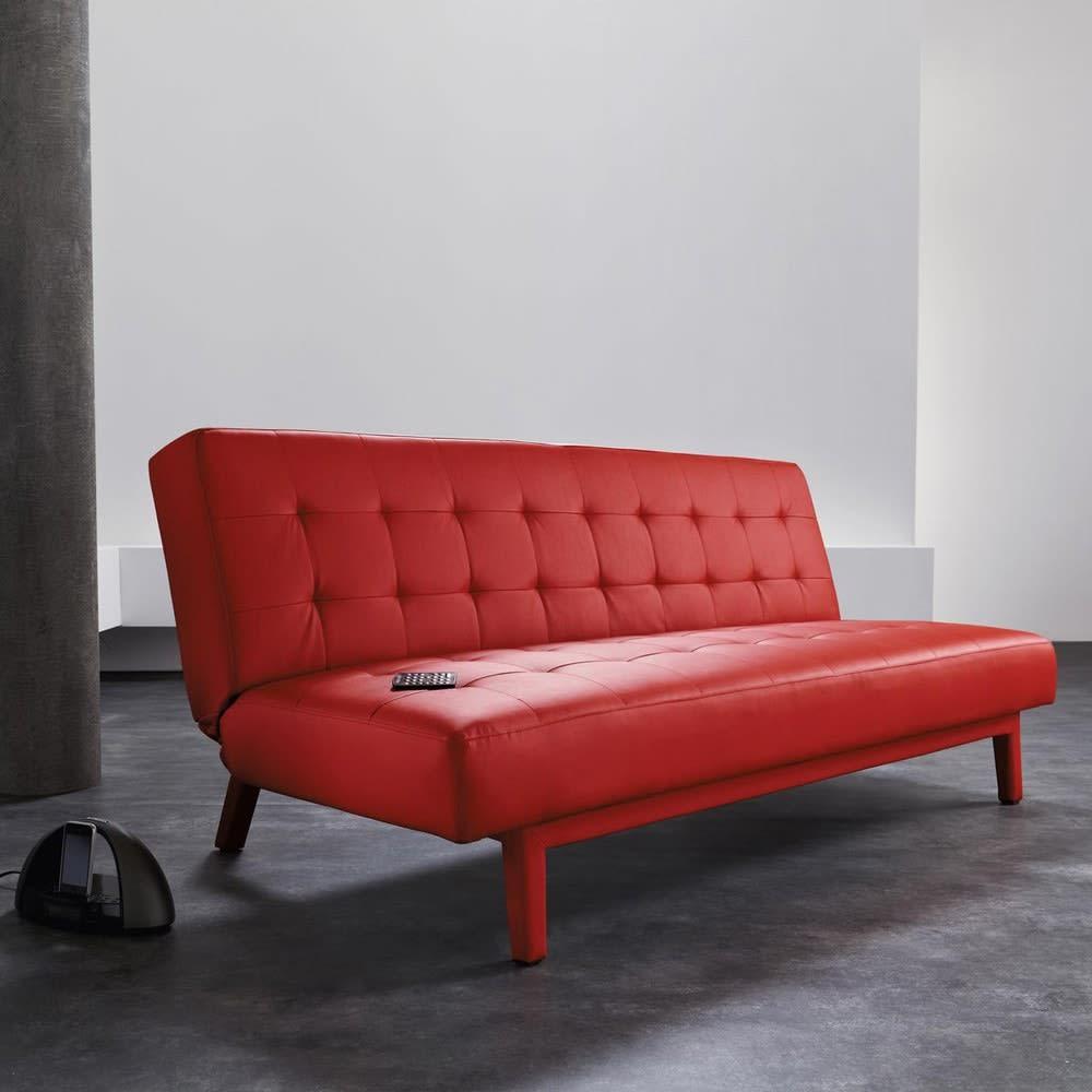 canap clic clac capitonn 3 places rouge studio maisons du monde. Black Bedroom Furniture Sets. Home Design Ideas