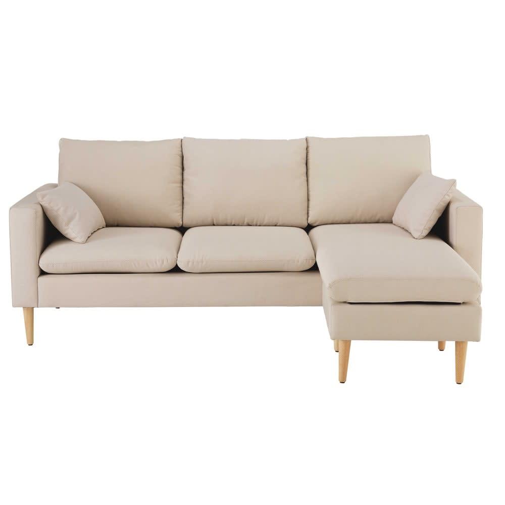 canap d 39 angle 3 4 places beige joey maisons du monde. Black Bedroom Furniture Sets. Home Design Ideas