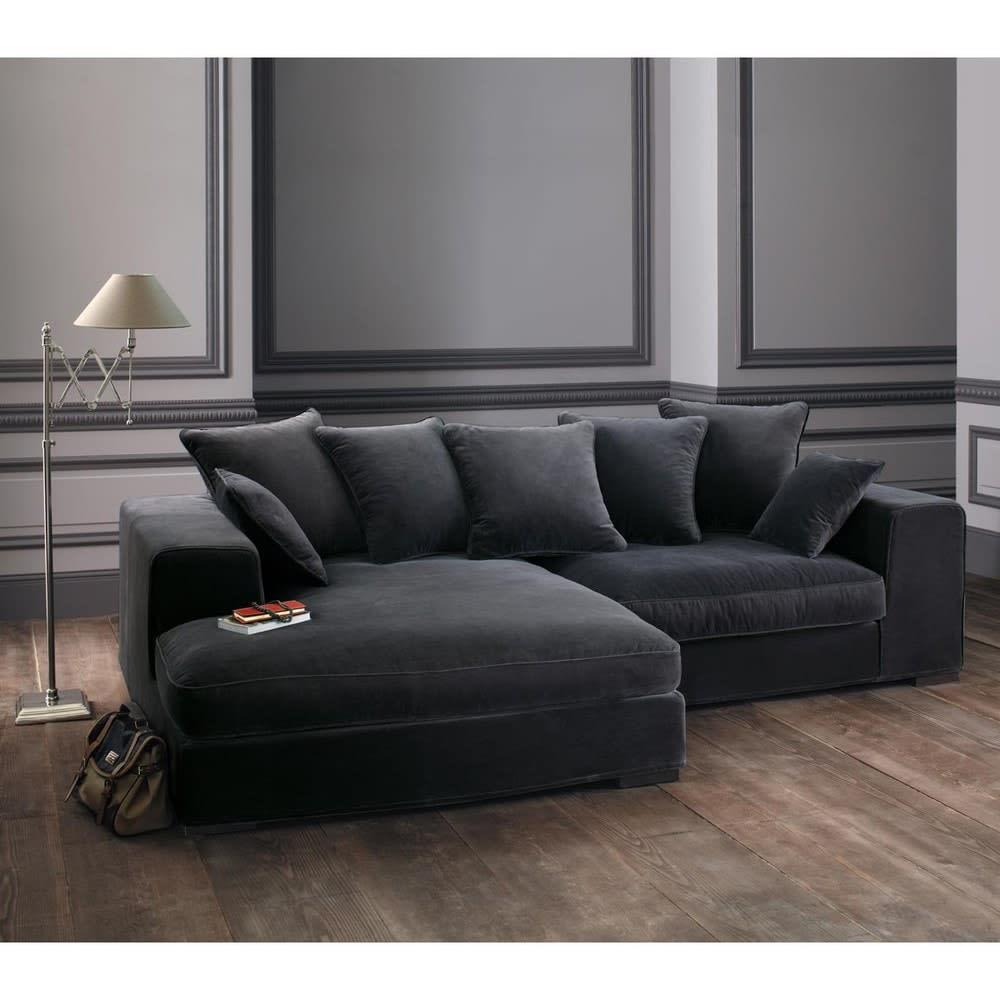canap d 39 angle 4 places en velours gris bruges maisons du monde. Black Bedroom Furniture Sets. Home Design Ideas