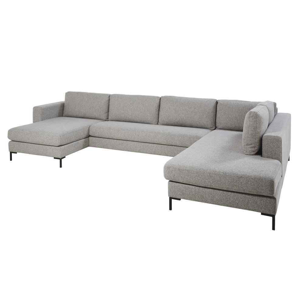 canap d 39 angle 5 7 places gris clair avec port usb lucarno. Black Bedroom Furniture Sets. Home Design Ideas