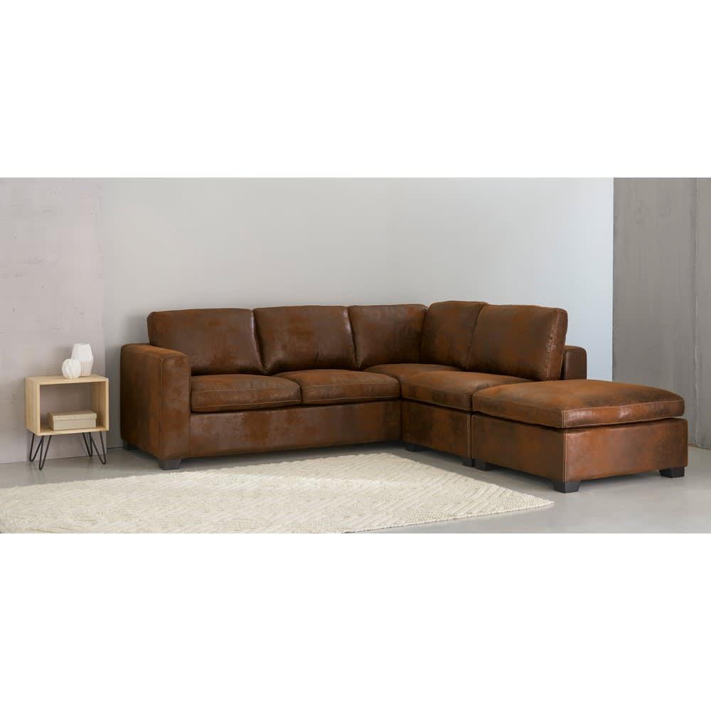 canap d 39 angle 5 places en su dine marron kennedy. Black Bedroom Furniture Sets. Home Design Ideas