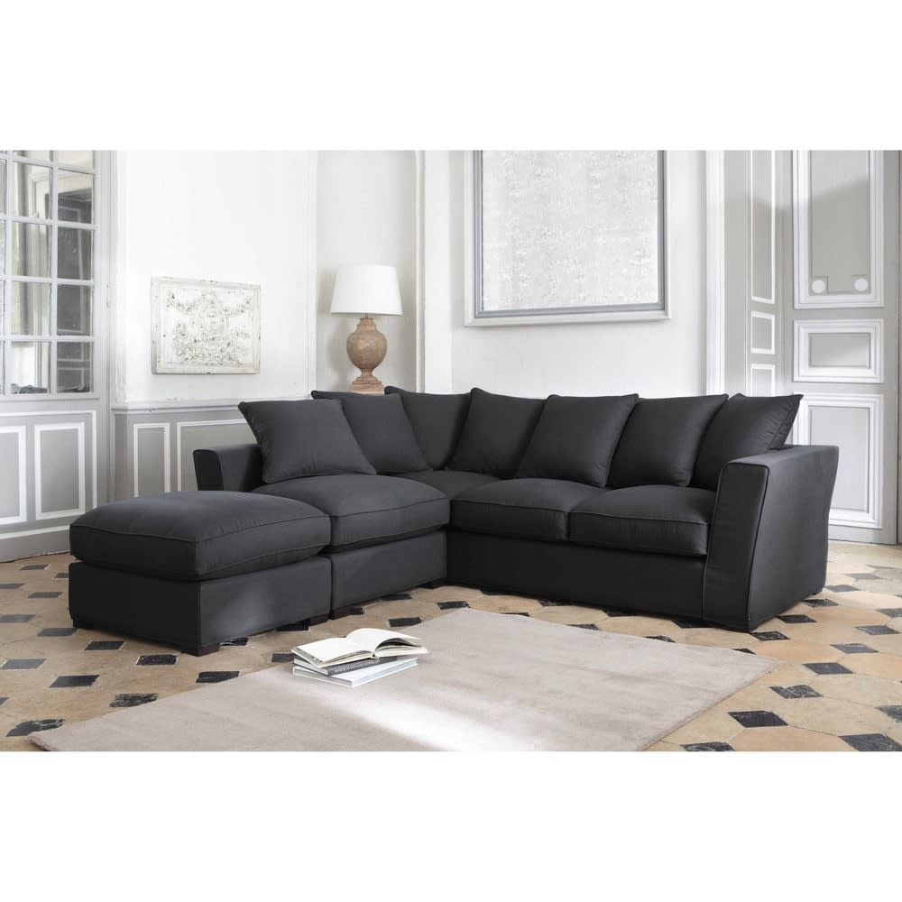 canap d 39 angle 5 places en tissu gris ardoise balthazar. Black Bedroom Furniture Sets. Home Design Ideas