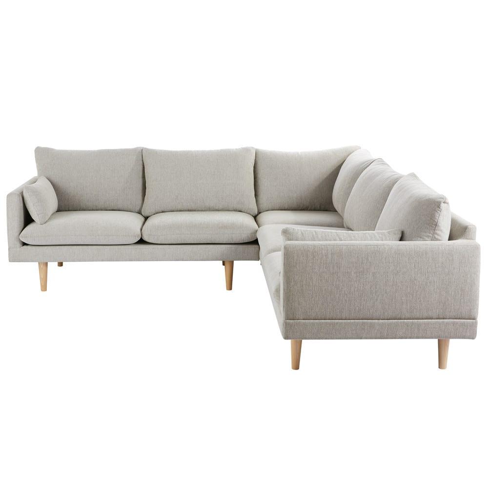 canap d 39 angle 5 places gris clair collins maisons du monde. Black Bedroom Furniture Sets. Home Design Ideas