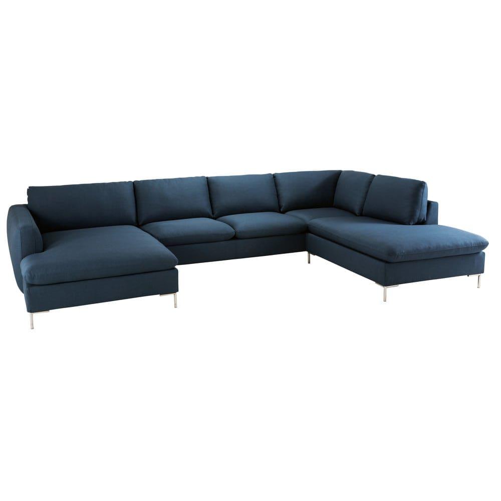 canap d 39 angle 7 places bleu nuit maisons du monde. Black Bedroom Furniture Sets. Home Design Ideas