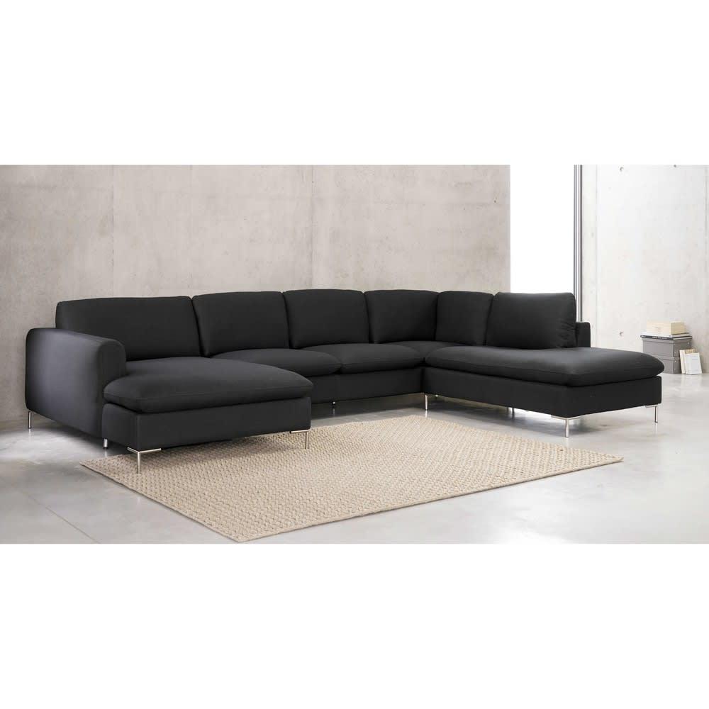 canap d 39 angle 7 places gris anthracite city maisons du monde. Black Bedroom Furniture Sets. Home Design Ideas