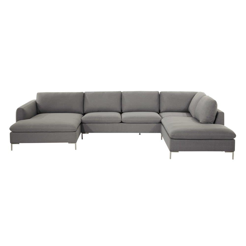 canap d 39 angle 7 places gris clair city maisons du monde. Black Bedroom Furniture Sets. Home Design Ideas