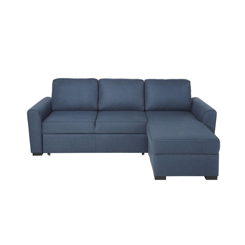 canap d 39 angle convertible 3 4 places bleu nuit montr al maisons du monde. Black Bedroom Furniture Sets. Home Design Ideas