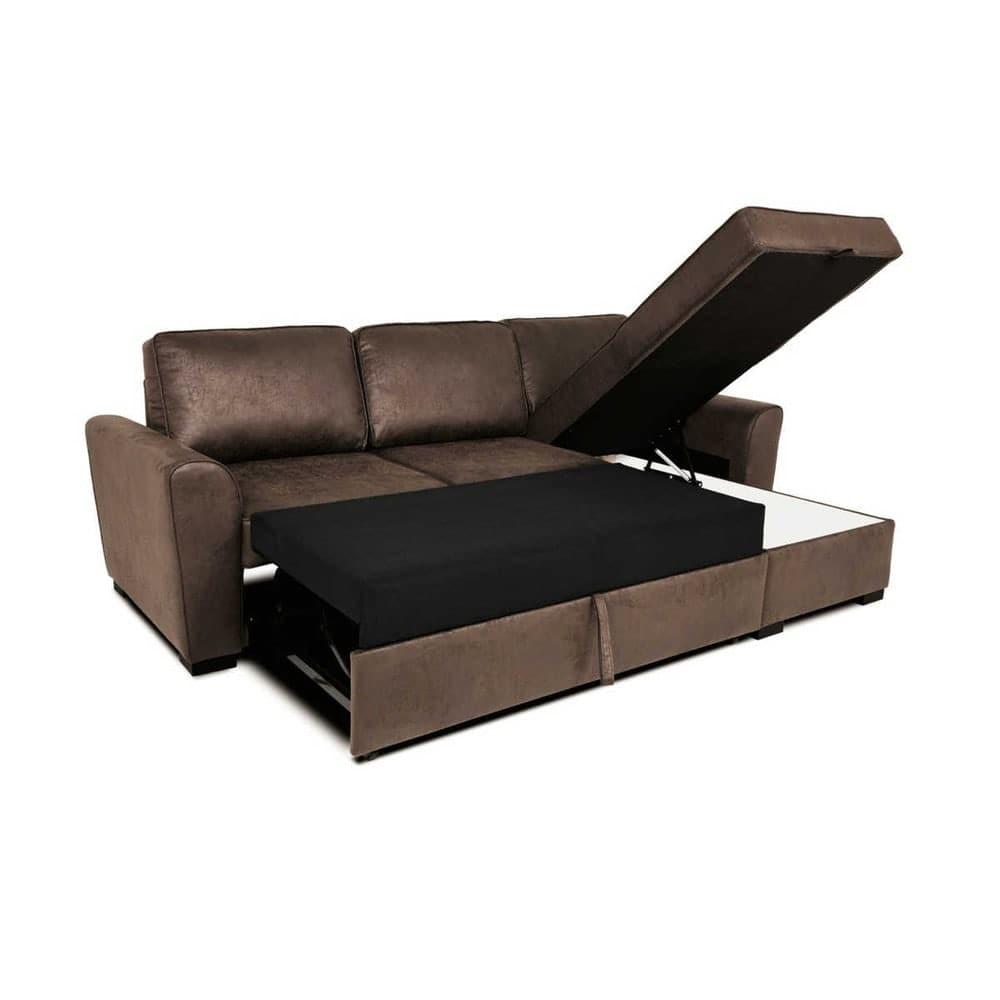 canap d 39 angle convertible 3 4 places en microsu de marron. Black Bedroom Furniture Sets. Home Design Ideas