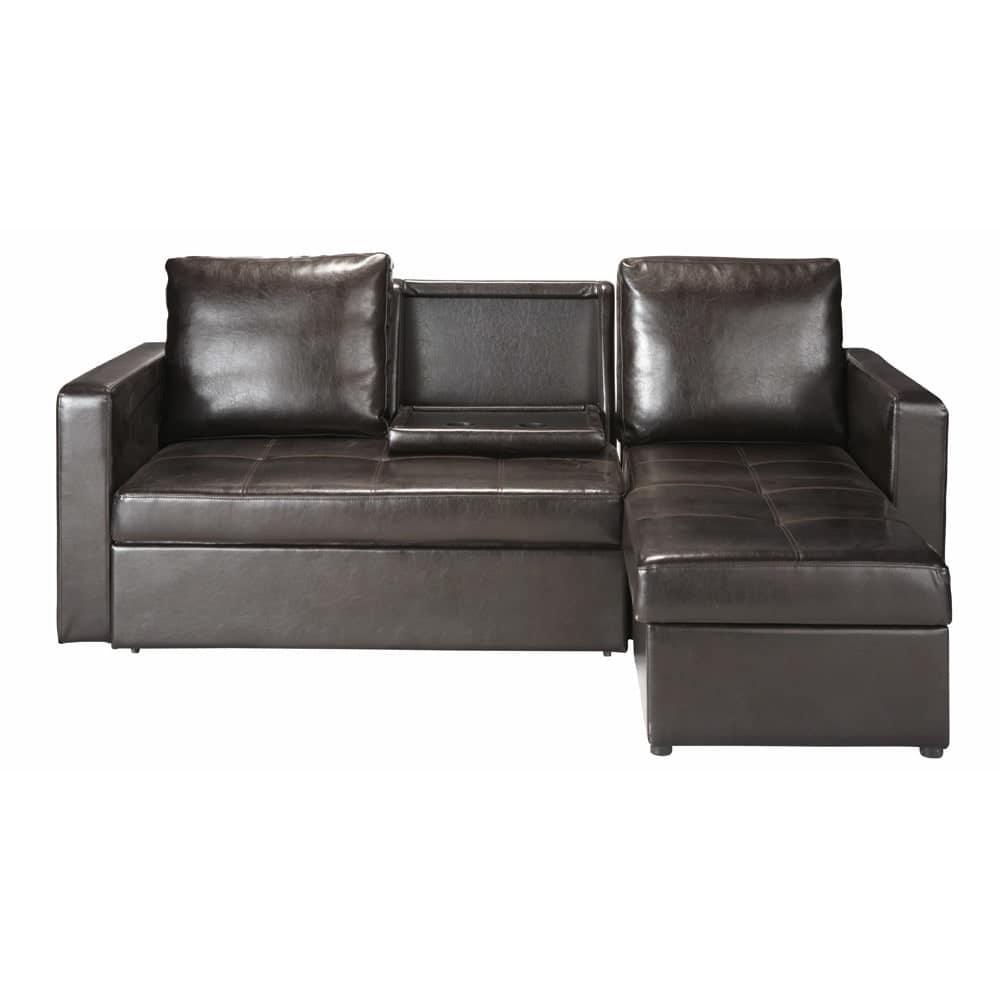 canap d 39 angle convertible 3 places marron toronto maisons du monde. Black Bedroom Furniture Sets. Home Design Ideas