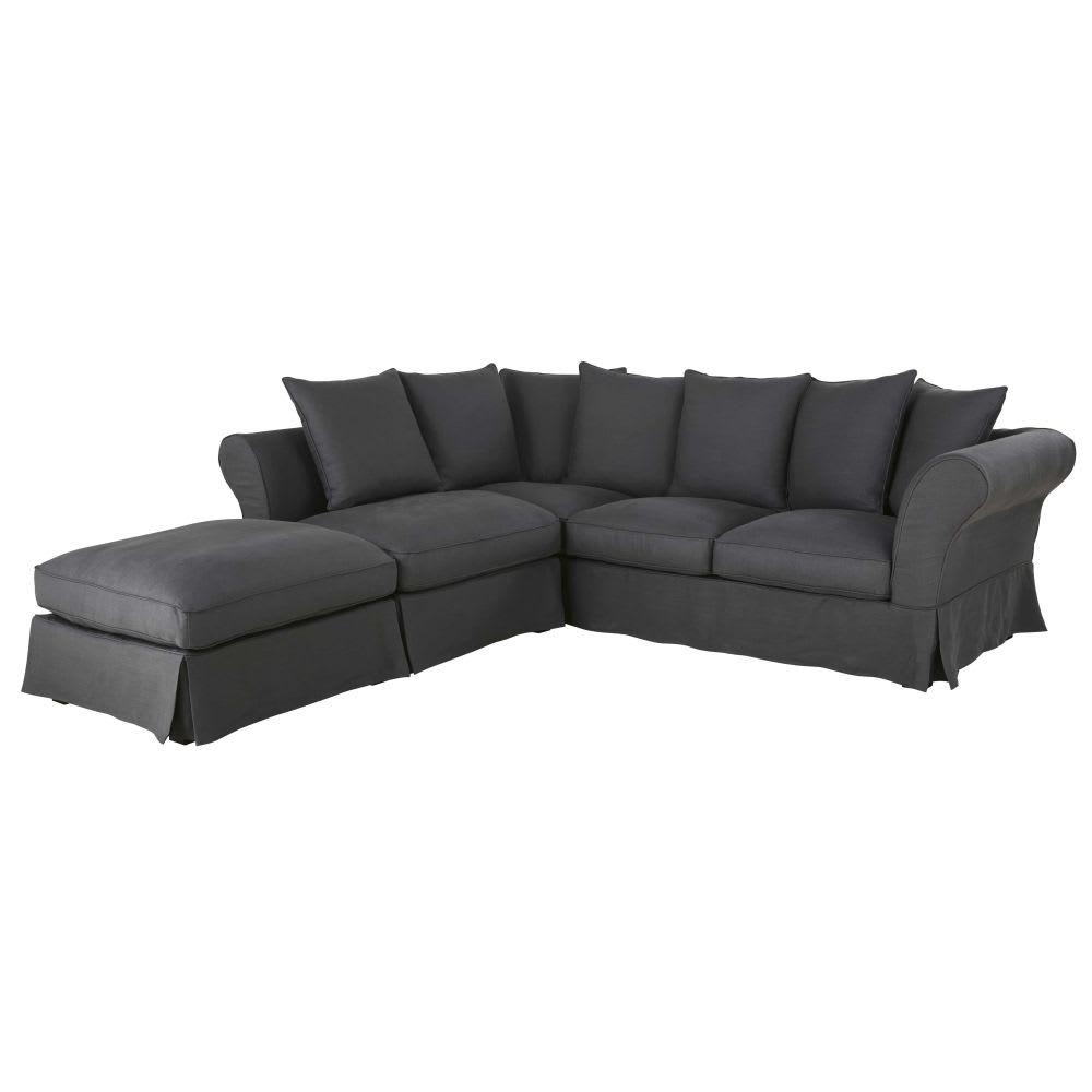 canap d 39 angle convertible 6 places en lin gris anthracite roma maisons du monde. Black Bedroom Furniture Sets. Home Design Ideas