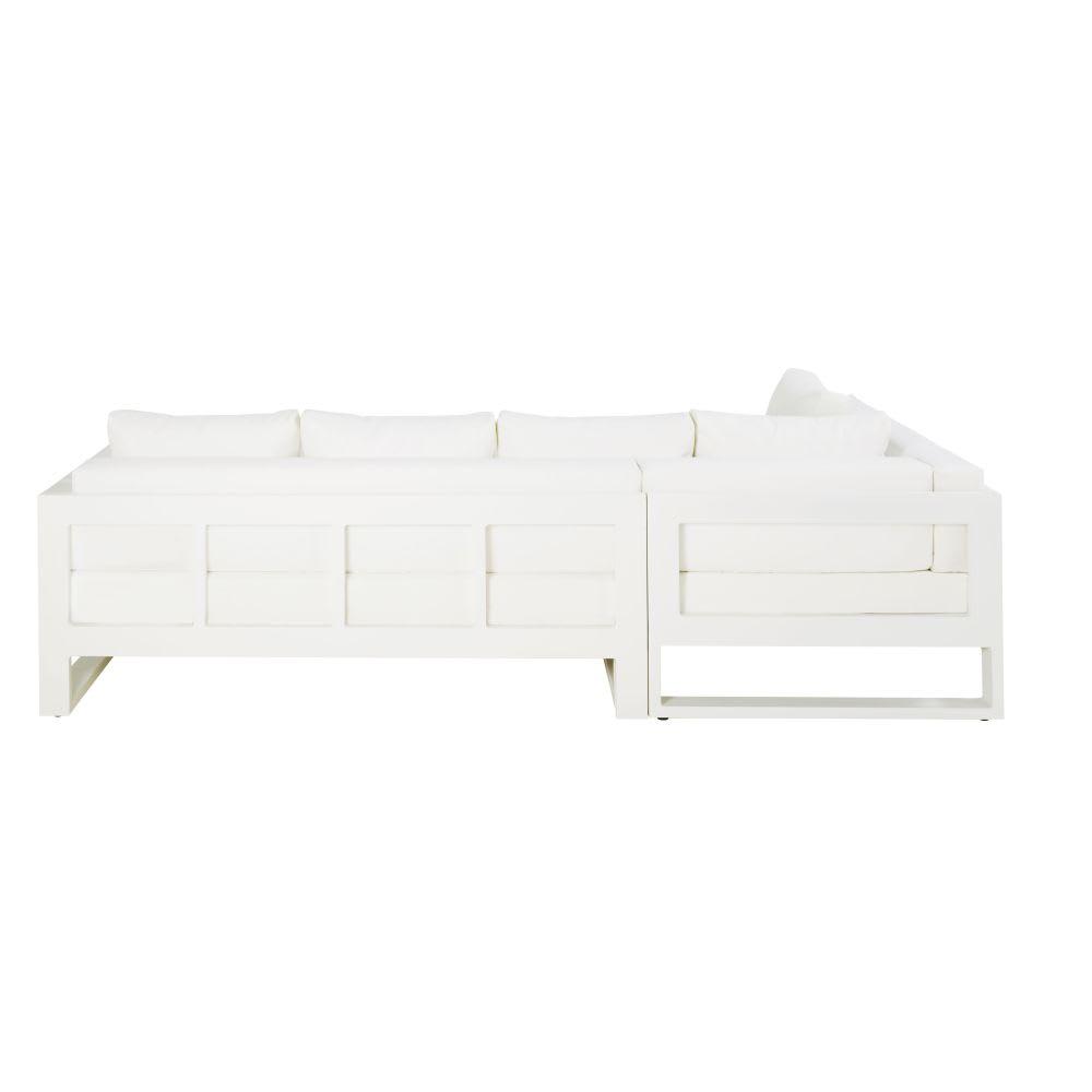 Canap d 39 angle de jardin 4 5 en places en aluminium blanc thetis maisons du monde - Canape jardin aluminium ...