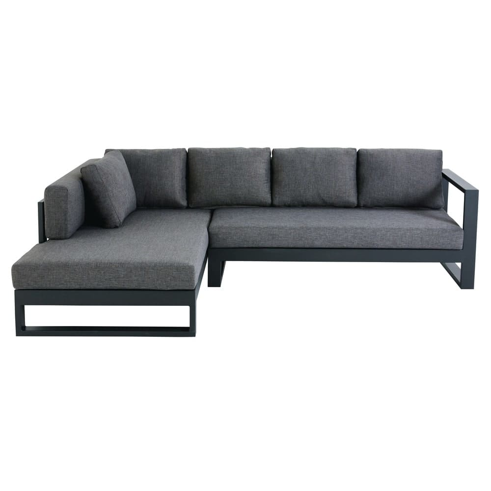 Canapé d\'angle de jardin 4/5 places en aluminium noir Thetis ...