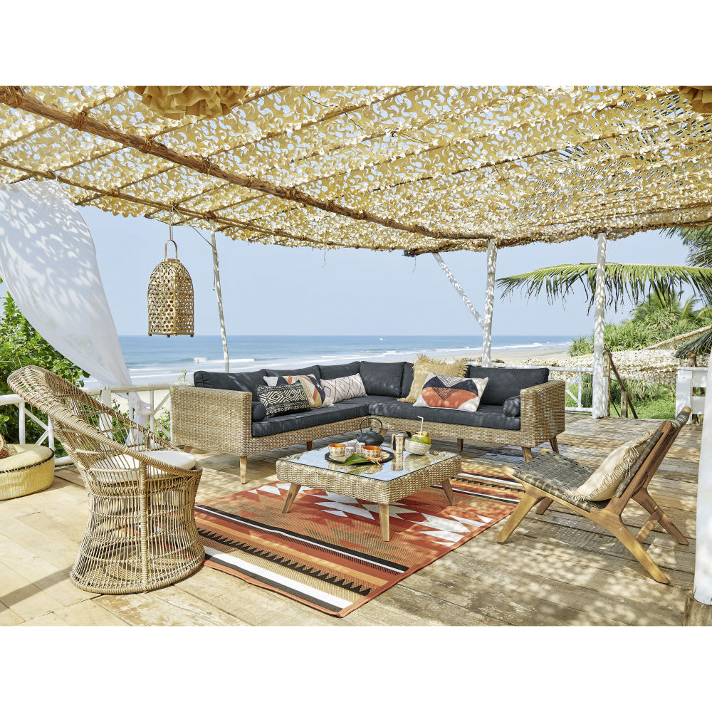 Canap d 39 angle de jardin 5 places en r sine tress e feroe maisons du monde - Canape d angle de jardin ...