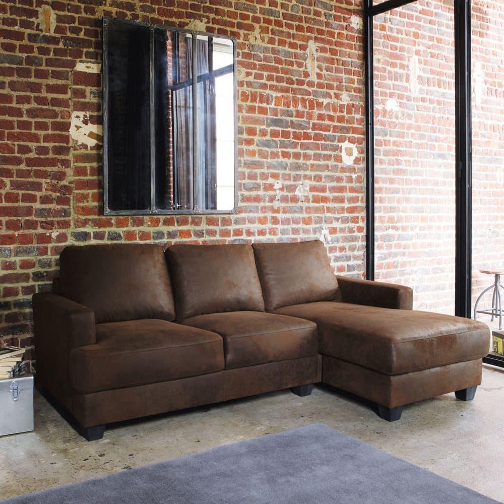 Canapé d\'angle droit 3/4 places en microsuède marron Philadelphie ...