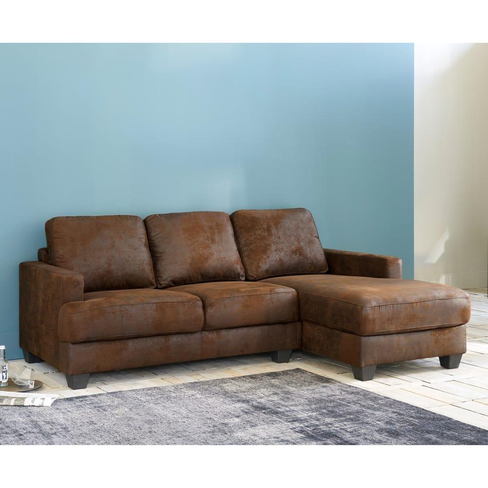 canap d 39 angle droit 3 4 places en microsu de marron philadelphie maisons du monde. Black Bedroom Furniture Sets. Home Design Ideas