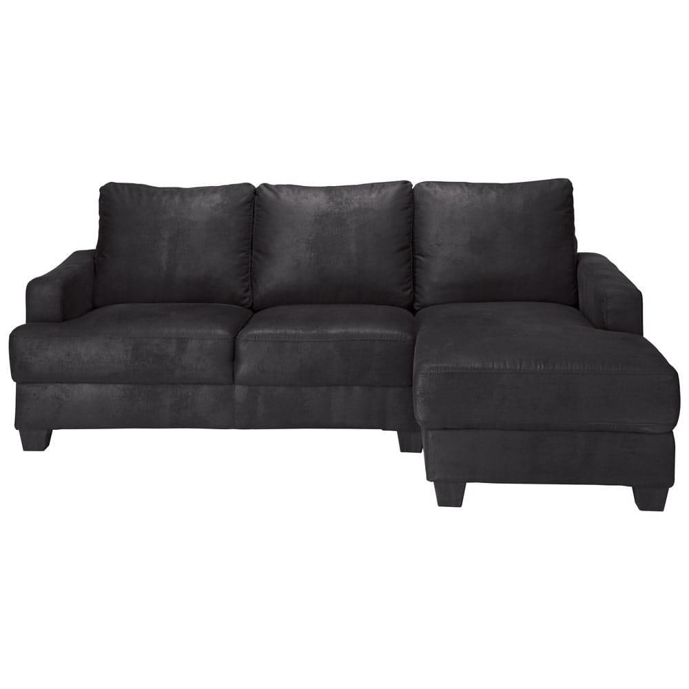 canap d 39 angle droit 3 4 places en microsu de noire philadelphie maisons du monde. Black Bedroom Furniture Sets. Home Design Ideas