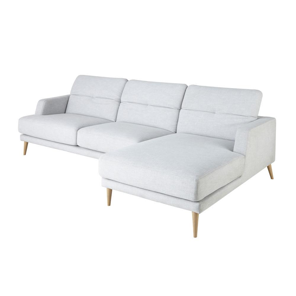 canap d 39 angle droit 4 5 places gris clair missouri. Black Bedroom Furniture Sets. Home Design Ideas