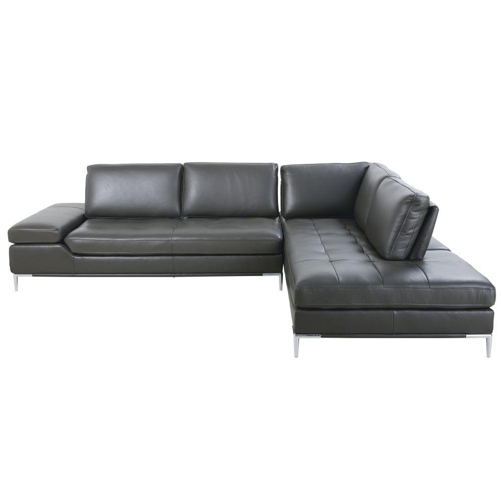 canap d 39 angle droit 5 6 places en cuir gris anthracite. Black Bedroom Furniture Sets. Home Design Ideas