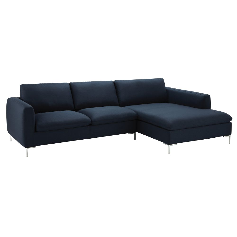 canap d 39 angle droit 5 places bleu nuit city maisons du monde. Black Bedroom Furniture Sets. Home Design Ideas