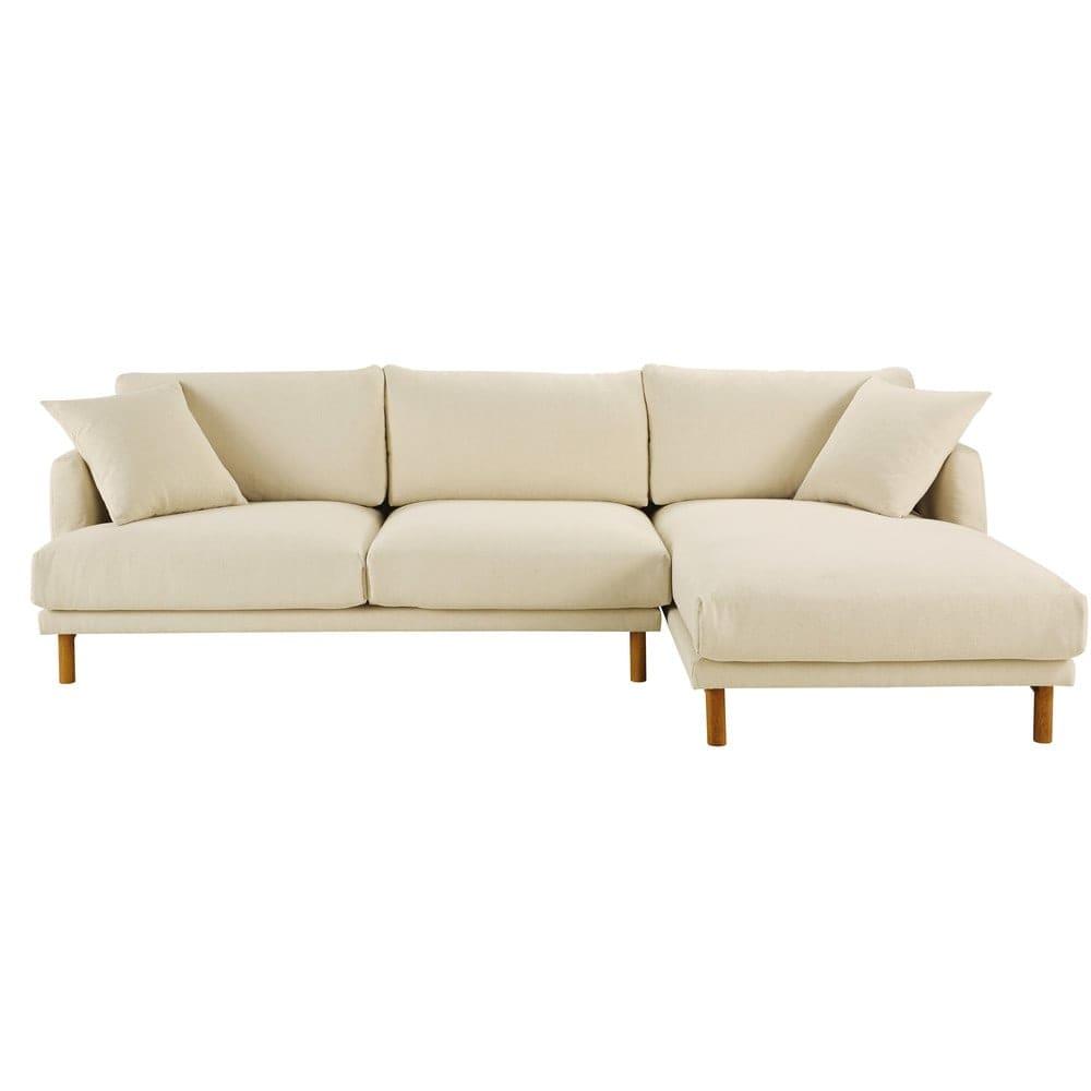 canap d 39 angle droit 5 places en coton et lin beige raoul. Black Bedroom Furniture Sets. Home Design Ideas