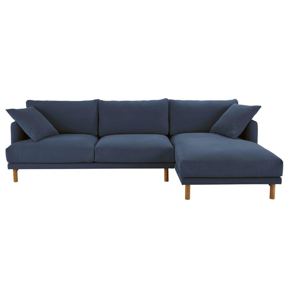 canap d 39 angle droit 5 places en coton et lin bleu marine. Black Bedroom Furniture Sets. Home Design Ideas